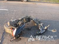 Мотоциклист перевернулся на мопеде